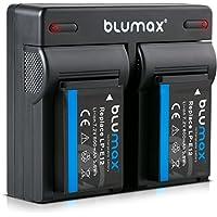 Blumax 2X Akku + Dual Ladegerät kompatibel mit Canon LP-E12 | 800mAh | für EOS M | EOS M50 | EOS M2 | EOS M10 | EOS 100D | EOS Rebel SL1