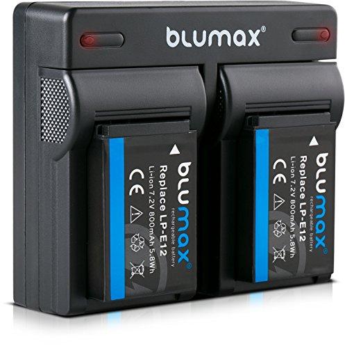 Blumax 2X Akku + Dual Ladegerät kompatibel mit Canon LP-E12 | 800mAh | für EOS M | EOS M50 | EOS M2 | EOS M10 | EOS 100D | EOS Rebel SL1 -