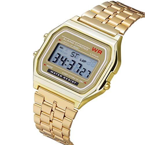 Sport Elektronische Edelstahl-Armbanduhr Ultra Dünne Multifunktions Leuchtwecker Erinnerung Herren Damen Uhren(EIN ()