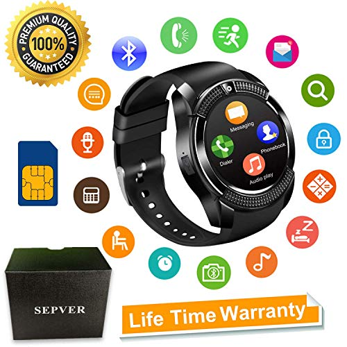 Smart Watches Bluetooth Smart watch SN08 Unlocked Watch Phone Fitness tracker with SIM Card Slot Touch Screen Camera for Android Phones Samsung Huawei LG Xiaomi Sony IOS iPhone Men Women Kids (Black)