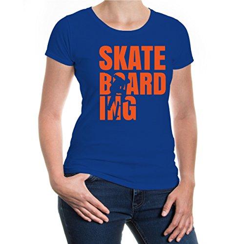 buXsbaum® Girlie T-Shirt Skateboarding Type Royal-Orange