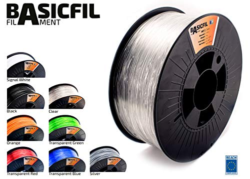 BASICFIL PET 1.75mm, 1 kg filamento de impresión 3D, Transparante