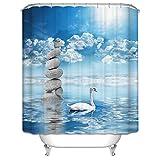 Elefant Duschvorhang, Qile Anti-Schimmel & Anti-Bakteriell 3D Duschvorhänge für Bad Badezimmer 180 x 180 cm + 12 Haken