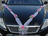 Autoschmuck Organza M Décoration de voiture de mariage ruban organza et roses Rose/blanc