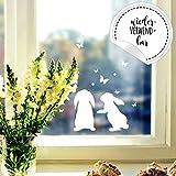 Fensterbild Häschen Hasen -WIEDERVERWENDBAR- Fensterdeko Fensterbilder Osterhasen & Schmetterlinge M2346 ilka parey wandtattoo-welt®