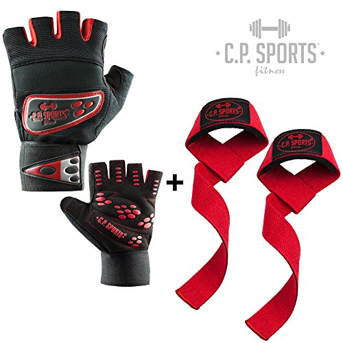 Trainings-Set C.P. Sports Profi-Grip-Bandagen-Handschuh - rot S + Zughilfe T11 Rot