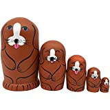 Set Of 5 Cute Adorable Dog Animal Wooden Russian Nesting Dolls Handmade Matryoshka Dolls For Kids Toy Birthday Gift Ide For Son & Daughter