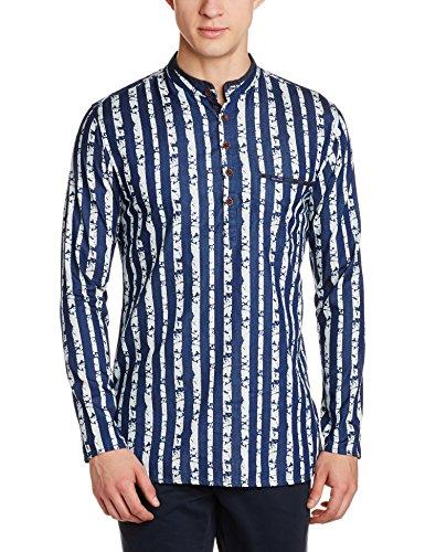 Peter England Men's Waist Length Cotton Kurta (8907411583592_PO31681434_Dark Blue_Medium)