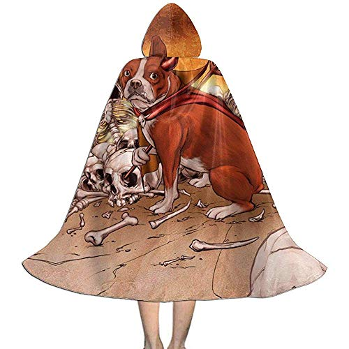Rexing Kinder Umhang Hut,Hexengewand,Kap Mit Kapuze,Vampir Kleid Umhang, Teufel Hund Mit Roten Mantel Skelett Schädel Halloween Kapuzenmäntel Kostüme Cosplay Umhänge Robe Hexe Party Kapuzenmantel - 1970's Dress Up Kostüm