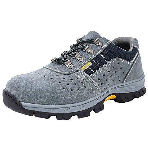 Estive Scarpe Uomo da Lavoro Antinfortunistiche Acciaio Sportive Scarpa Sneaker Ginnastica Trekking Grigio02 43 EU