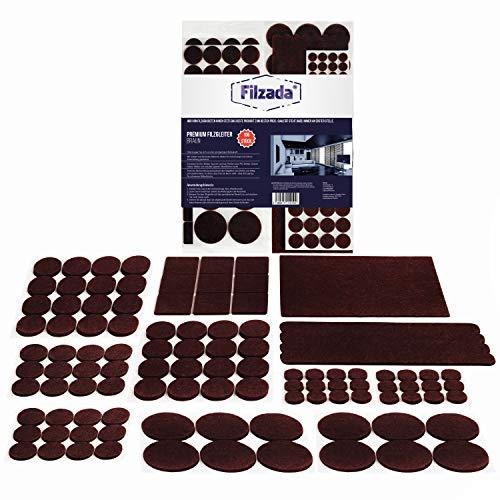 Filzada® Filzgleiter Selbstklebend Set 106 Stück (Eckig und Rund) - Braun - Profi Möbelgleiter Filz Mit Idealer Klebkraft