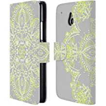 Official Micklyn Le Feuvre Pale Lemon Yellow Lace Mandala 3 Leather Book Wallet Case Cover For HTC One mini