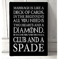 matrimonio è come un mazzo di carte divertente citazione nero A4metal Sign Plaque Wall Art