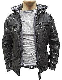 53f9abc8630c2 Manteau Homme Veste hiver simili cuir Blouson Jacket capuche fourrure D215  NOIR