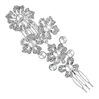 MOOD By Jon Richard Silver ornate flower hair comb Silver
