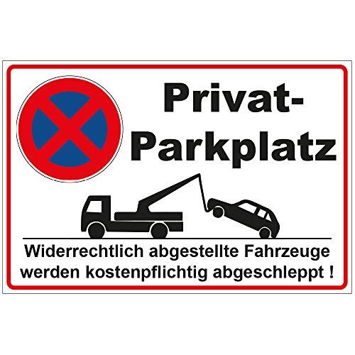 Schild 300x200 mm Privatparkplatz, stabil aus Alu / Dibond - 3 mm stark