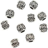 Kesheng 10pcs Dreadlock Beads Anillos de Rastas para Decoración de Pelo Trenzado Tono Plateado