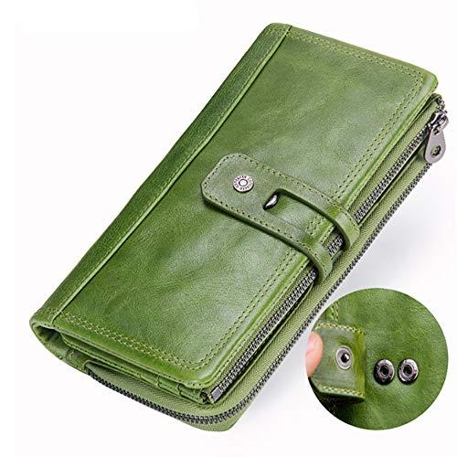 Leder Tri-fold Brieftasche (Damen Brieftasche Mode Tri Fold Leder Brieftasche Erste Schicht Leder Casual Clutch (Color : Green, Size : S))