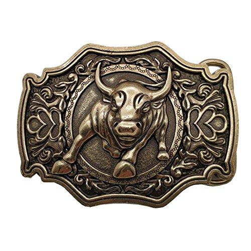 YONE Hebilla de cinturón 3D Bull Bronze Belt Buckle Western Metal Cowboy