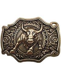 b81168beee YONE Fibbia per Cinture 3D Bull Bronze Belt Buckle Western Metal Cowboy