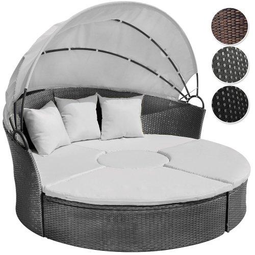 Miadomodo Hochwertige Polyrattan Lounge Sonneninsel Ø 180 cm (Farbwahl) mit Tisch Wohlfühllandschaft inkl. Kissen aufklappbarem Sonnendach (Grau)
