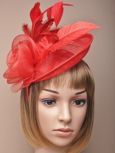 Beautiful Large Red Hatinator Hat with slanted band Bridal. Races 9ffe55f6eb3