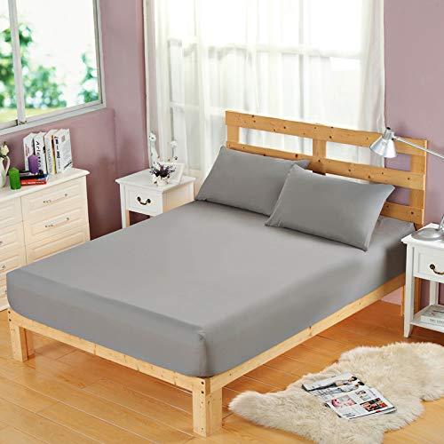 BBQBQ Matratzenbezug für Allergiker, Milbenbezug - Matratzenschutz, atmungsaktiv,Einfarbig Einzelprodukt Schleifschutzhülle rein grau 180 * 200cm -