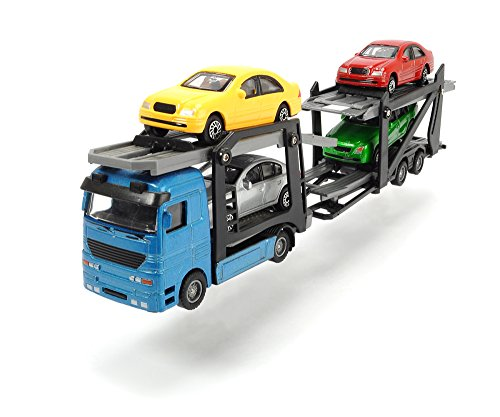 Dickie Toys 203745000 - Car Trailer, LKW- Autotransporter mit vier PKWs, 28 cm