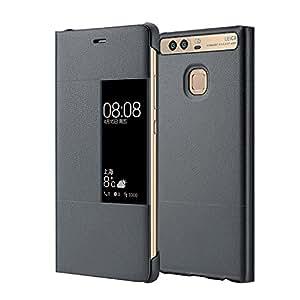 "MOONCASE Case Premio Custodia in pelle Protettiva Flip View Cover per Huawei P9 Plus 5.5"" Grigio"