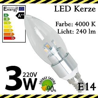 ALMIPEX E14 LED Lampe Glas Kerze 3W (240 lm - 4500 K - Weiß - 6 x SMD - 270º Abstrahlwinkel - E14 Sockel - 230V AC - 3 Watt - Ø 37×117 mm)