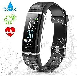 Wincase Montre Cardiofréquencemètre, Tracker d'Activité Écran Coloré avec Moniteur de Sommeil, Réveil, Notifications, Bluetooth Podomètre IP68 Etanche Montre GPS Connectée pour Femme Homme