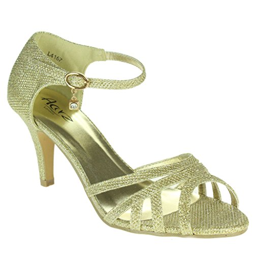 Cinturino Da Sera Di Sposa Sandali Signore Del Oro Formato Nozze Scintillante Partito Medio Delle Donne Promenade In Di Tacco Caviglia tEt6Swq