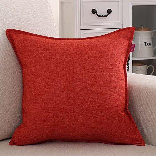 Teebxtile Haut Confort Velvet Velours Dos Support Berceau Le Lin Simple, 45x45cm (Oreiller-no-Cell), Orange