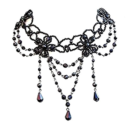 Black Bead Flower Jewel Choker Necklace on Silver Tone Chain Party Dress Fashion Jewellery for Ladies Women Girls UK