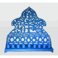 Chanukah menorah, in metallo, decorato e unico, design paper cut