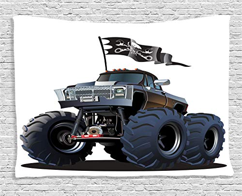 (ABAKUHAUS Karikatur Wandteppich, Monster Truck Pirat, Wohnzimmer Schlafzimmer Heim Seidiges Satin Wandteppich, 150 x 100 cm, Kadett Blau Weiß)