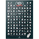 Qapter Poster Rubbelkarte für Studenten und Azubis - 99 Dinge, die ich erledigen muss, bevor ich meinen Abschluss mache - Bucketliste, Rubbelposter ist mehrfarbig, 84 x 59,5 x 0,1 cm