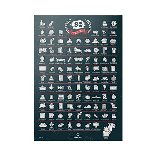Qapter Poster Rubbelkarte für Studenten und Azubis – 99 Dinge, die ich erledigen muss, bevor ich meinen Abschluss mache – Bucketliste, Rubbelposter ist mehrfarbig, 84 x 59,5 x 0,1 cm