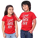 #6: ADYK Cotton Brother Sister T-Shirts Love to Hate him/her