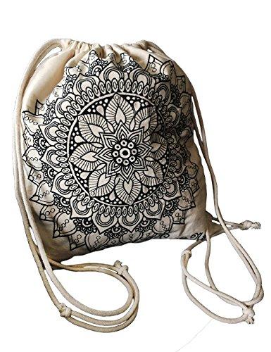 CariñaNiña Hipster Beutel Rucksack mit Spruch ✔ 4 Designs ✔ Innen-Tasche ✔ Baumwolle Natur ✔ Jute-Beutel Turnbeutel Hipster - für Festival Urlaub Techno (Mandala) (Baumwoll-beutel)