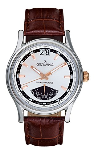 Grovana Men's Quartz Watch with Silver Dial Analogue Display and Brown Leather Strap 1733.1528