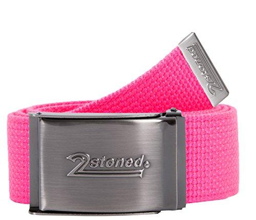 2Stoned Tresor-Gürtel Geldgürtel Neon-Pink 4 cm breit Matte Schnalle Speed, Safe Belt für Damen