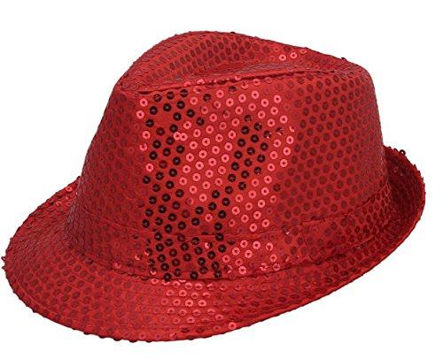 6e16e25b2669f JTC Women Men Glitter Sequins Fedora Trilby Hat Party Jazz Cap (Red)