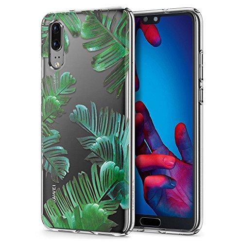 Eouine Huawei P20 Hülle, Ultra Dünn Schutzhülle Silikon Transparent mit Muster Motiv Handyhülle Weich TPU Bumper Case Backcover für Huawei P20 Smartphone (Blätter) -