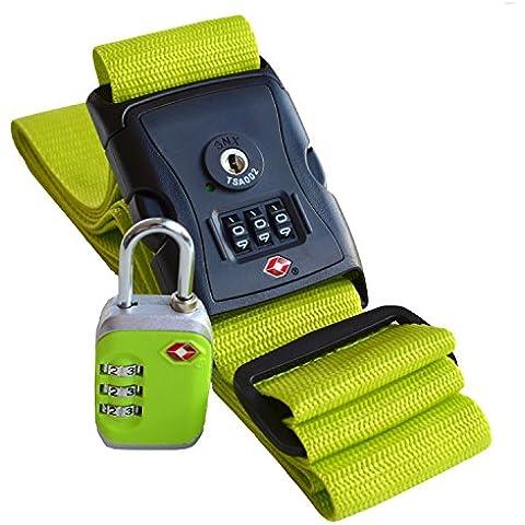 Correa y candado de equipaje (conjunto): Verde, TSA – Correa robusta de seguridad y una cerradura de metal – Apropiada para todas las maletas – Ideal para las vacaciones de invierno – de Globeproof