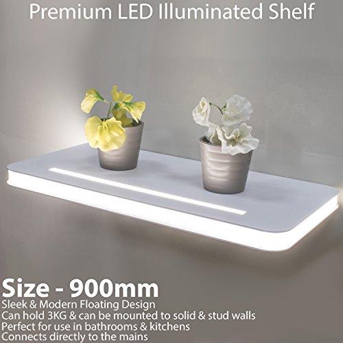 600mm beleuchtet LED Hängeregal–Aluminium-Finish–Natürliches weißes Licht BEAM–Küche & Bad Wand montiert Display Einheit–Modern Glowing Strip Beleuchtung–Panel Regale Cablefinder (Display-einheit Moderne)