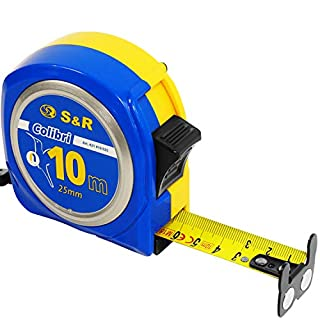 S&R Measure Tape 10,0 m x 25mm, measuring tape, nylon coated tape, Colibri - series, impact resistant case with lock and auto return