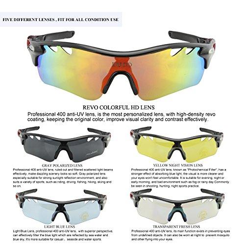Duco Polarisierte Fahrradbrille Radfahren Sportbrille Sonnenbrille Schutzbrille 0025 (Grün) - 4