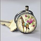 Giraffe Schlüsselanhänger, schöne Giraffe, besonderes Geschenk, spezielles Schlüsselanhänger, Schlüsselanhänger, Glas, rund, silberfarben