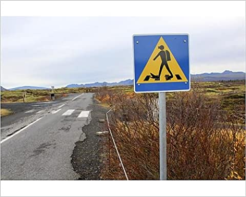 Photographic Print of Street sign for divers crossing street at the Silfra tectonic fissure